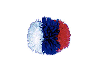 Three Color Side-By-Side Show Pom 4 Inch